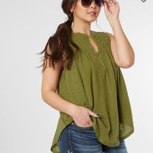 Free People/We The Free green ruched tank top